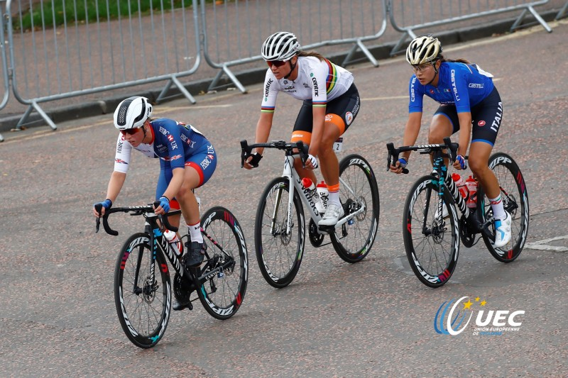 UEC Elite European Championships 2018 - Glasgow - Women Road Race 129,4 km - 05/08/2018 - Alice Barnes (Great Britain) - Chantal Black (Netherlands) - Elena Cecchini (Italy) - photo Luca Bettini/BettiniPhoto